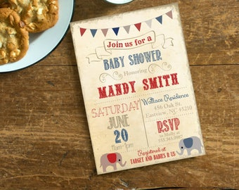 Vintage Elephant Baby Shower Invite,  Invitation with Red and Blue, Digital File, Circus Old Paper Baby Shower Invite