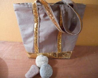 large fashion bag paillette beige linen