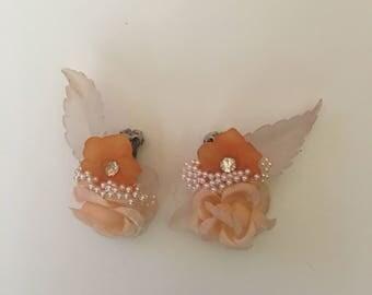 Vintage Orange Flower and clear leaf clip earrings
