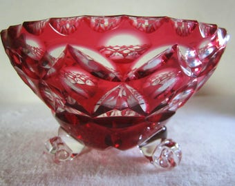 Ruby-Red Crystal Candy Dish-three footed with lovely etched geometric designs. Exquisite craftsmanship is apparent throughout. Wedding Gift!