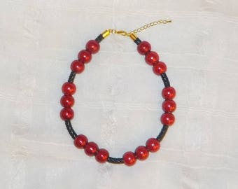 Braided Leather Beaded ADJUSTABLE Dog ~ Cat Collier (Red & Black Beaded Necklace)