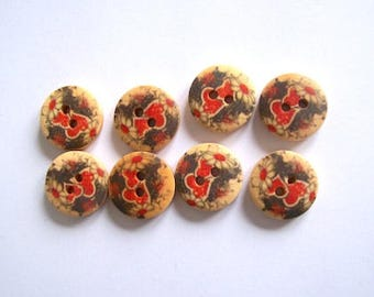 wood buttons black heart and flower buttons pack of 8 wood buttons