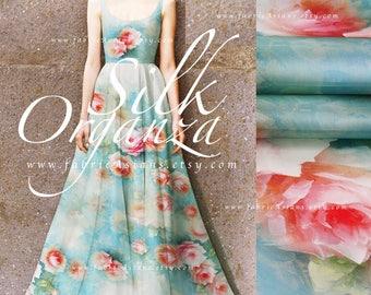 Aqua Blue organza silk - sew wedding dress