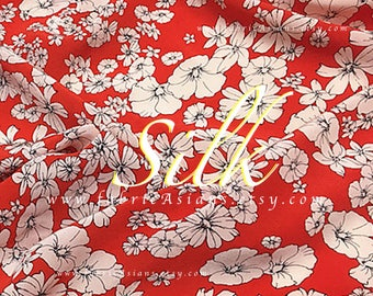 Morning Glory fabric Red silk crepe by the yard