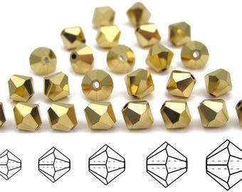 Crystal Aurum 2X Gold coated, Czech Glass Beads, Machine Cut Bicones (MC Rondell, Diamond Shape), golden crystals - 3mm, 4mm, 5mm, 6mm, 8mm