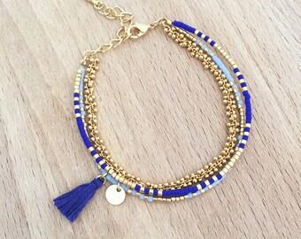 Bracelet Bleu multi rangs perles miyuki doré à l'or fin