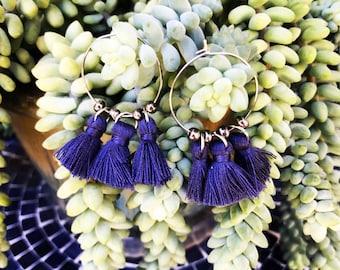 HYPOALLERGENIC EARRINGS Glam Tassel Hoop Earrings - Stainless Steel - Blue Iris