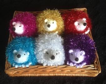 Hand knitted plush hedgehog, cuddly hedgehog