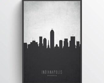Indianapolis Skyline Print, Indianapolis Cityscape, Indianapolis Art, Indianapolis Poster, Indianapolis Decor, Gift Idea, USININ19P