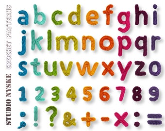 Crochet alphabet pattern lowercase small numbers punctuation marks math signs