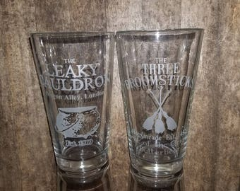The Leaky Cauldron, The Three Broomsticks Harry Potter Inspired pub Diagon Alley, Hogsmeade Home of Butterbeer Etched Pint Glass Set Bundle