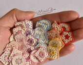 Set of 3 miniature tiny crochet potholders or coasters for dollhouse 1:12 scale