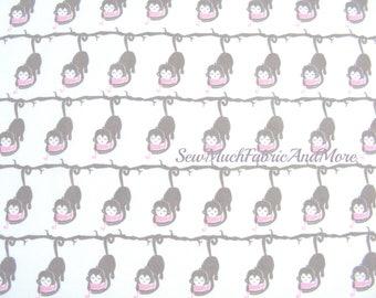 Baby Mine monkeys fabric-By the yard-baby monkeys-nursery-Emma & Mila-White-cotton-children's