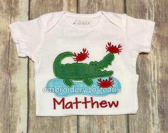 Personalized Alligator Crab Child's T-Shirt or Infant Bodysuit, Boys Summer Shirt, Boys Summer Outfit, Boys Summer Crab T-Shirt