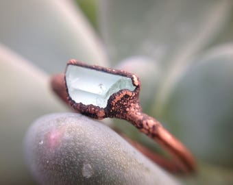 Raw Aquamarine | Aquamarine Copper Ring | Aquamarine Stone | Raw Crystals | Copper Ring | Size 7 1/2 | Ready-To-Ship