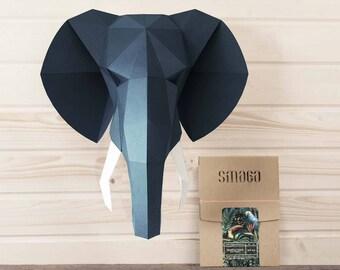 Elephant decor KIT | Papercraft wall art | Gift for men | Elephant baby shower | Living room decor | Gift for boyfriend | Bedroom decor