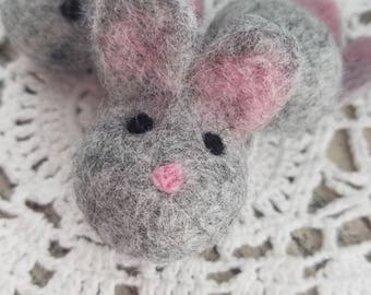 5 pieces Felted bunny. Easter bunny. Bunny decor. Felt bunny. Felt rabbit. Soft bunny. Craft. Gray bunny