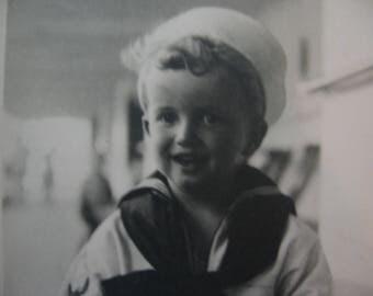 Vintage Sailor Boy Original Photo Black and White Young Blond Boy in Sailor Suit