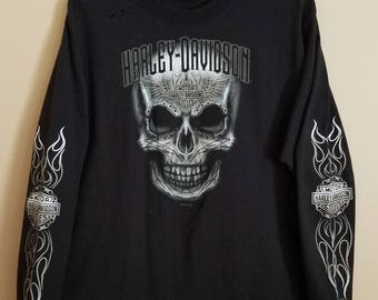 Harley Davidson Airbrushed Skull Long Sleeve T-Shirt