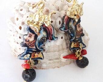 Saracen's head earrings