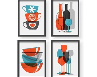Winter Sale Orange Blue Gray Kitchen Poster Set - Kitchen decor - Kitchen wall art - Kitchen prints - Blue Kitchen art - Kitchen poster