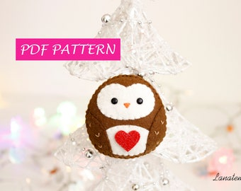 PDF owl felt ornament, DIY Christmas decoration, easy sewing tutorial, step by step instructions, felt decoration, children, family sewing