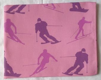 Pink skiing tea towel -  pink skiing kitchen towel - pink snowboarding tea towel - pink snowboarding kitchen towel - in 100% cotton