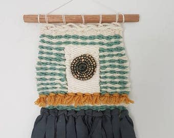 Mini weaved wall hanging in merino wool and organic jersey with raffia detailing / READY TO SHIP