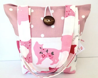 Tote Bag, Cats & Pink Dotty Tote Bag, Small Lunch Bag, Small Tote Bag, Small Bag, Fold Up Bag, Gift for Her, Cats Bag, Shoulder Bag, Cats