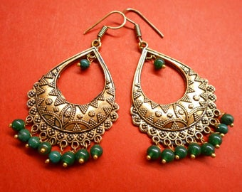 African Bollywood Beautiful Golden Oxidized Green Stone Beads Earring SR098