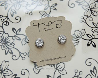 8mm silver gem earrings