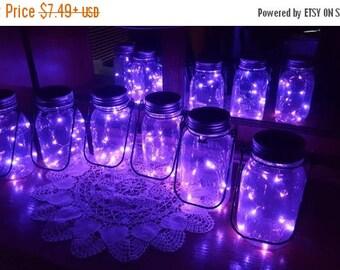 August Sales Event Mason Jar Solar Lid Light - Purple - Angel Lights - Firefly Lights - solar mason jar, mason jar light, fairy lights, maso