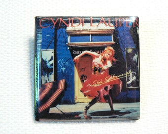 Vintage 80s Cyndi Lauper - She's So Unusual Album (1983) Pin / Button / Badge