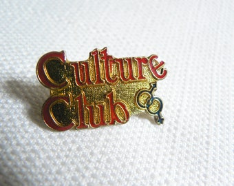 Vintage 80s Culture Club Logo - Boy George - Red and Blue Enamel Pin / Button / Badge
