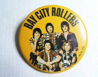 BIG Vintage 70s Bay City Rollers - Pin / Button / Badge (Date Stamped 1976)