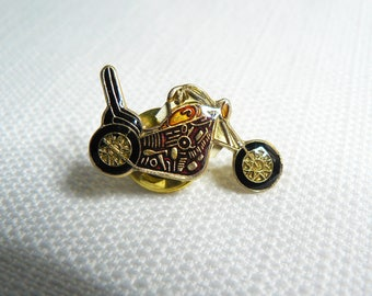 Deadstock - Never Worn - Vintage 80s - Motorcycle - Chopper - Biker - Enamel Pin / Button / Pinback
