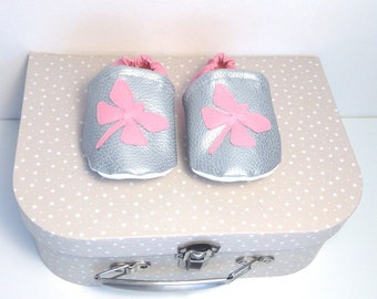 Faux leather baby shoes, dragonflies.