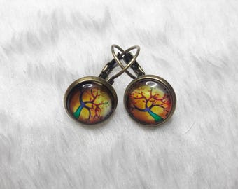 Earrings cabochon round trees green & yellow