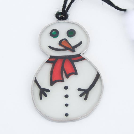 Snowman. Christmas glass ornament to hang on the Christmas tree, in the window, wall or ceiling. Stained glass Tiffany. Ready to ship