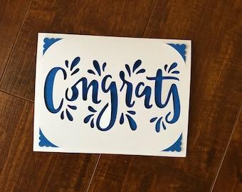 Congratulations card - Congrats card - Congratulations greeting card - Congrats greeting card - Greeting card - Graduation card - Grad card