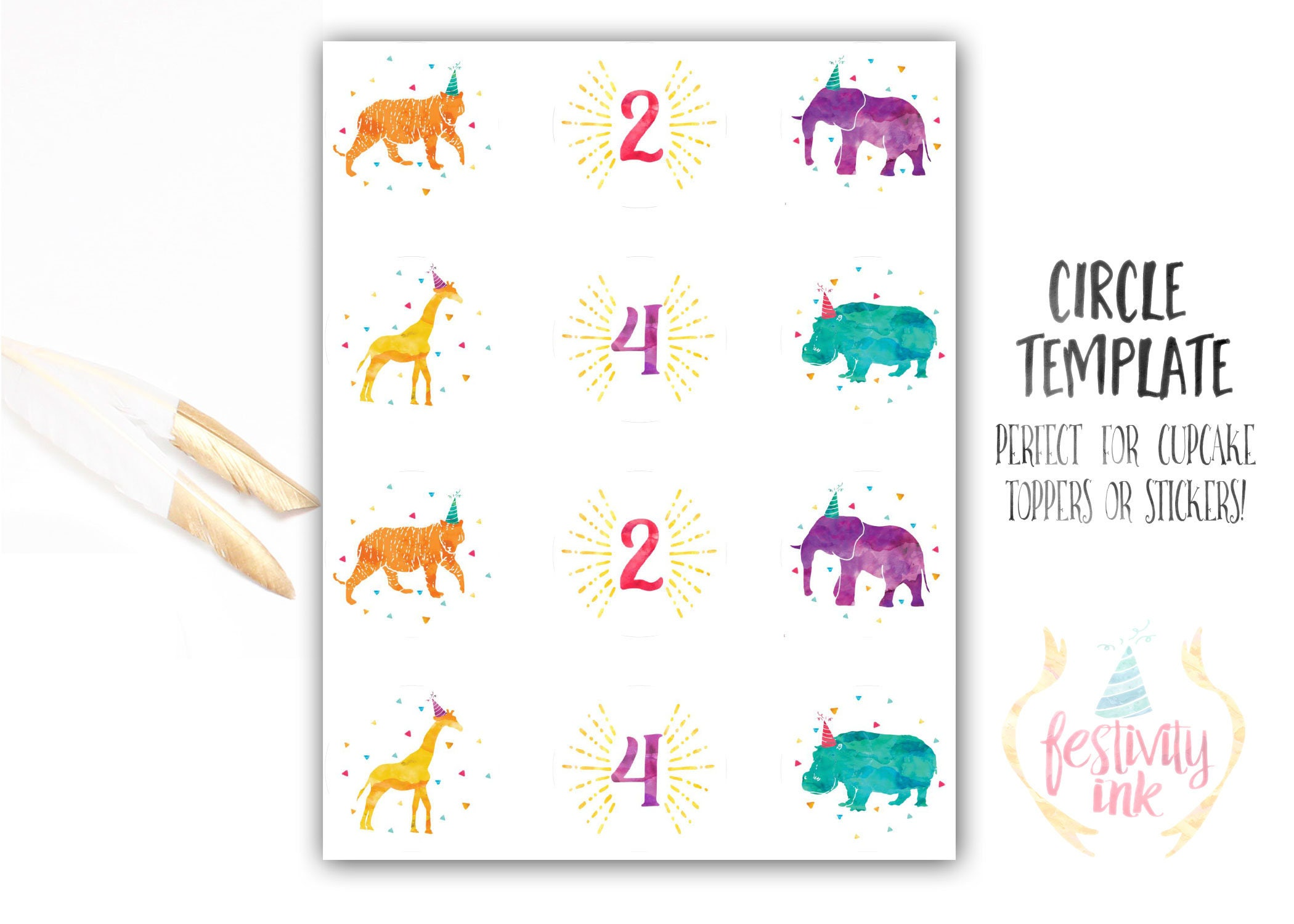 Girl Birthday Invitation - Party Animals - Watercolor - Circus ...