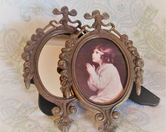 Set of 2 Vintage Metal Picture Frames, Made in Italy
