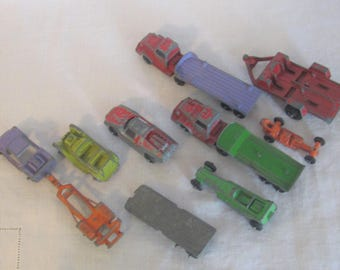 12 Pieces of Tootsie Toy Cars and Trailors, Tootsie Toy Antique Diecast Cars & Trailors