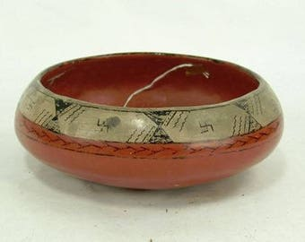 Native American, Maricopa Pottery Bowl, by Lula Young, Ca 1940's, #1124