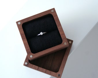 Walnut wood Ring box. Ascetic design ring box. Engagement ring box. Jewelry box. Wooden ring box.