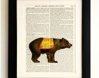 ART PRINT on old antique book page - Circus Bear, Vintage Upcycled Wall Art Print, Encyclopaedia Dictionary Page, Fab Gift!