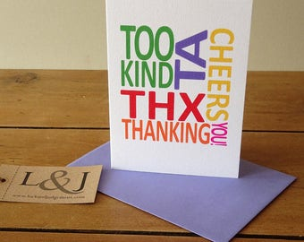 Thank You Card | Wedding Thank You | Thank You Note Card | Baby Shower Thanks | Thank You Notecard | Thank You Friend | Greeting Cards