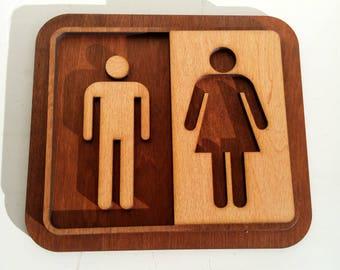 Restroom / WC Sign / Modern Bathroom Sign / Wood  / toilet sign / bathroom sign /