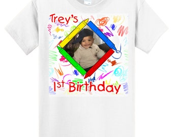 Child's Birthday crayons photo  T shirt - your picture, child's name, and birthday number - white T shirt - Sizes 6 Months - adult 6X - 0616