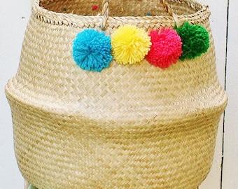 Bungalow Living Pom Pom Belly Basket
